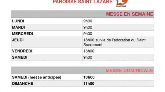 Horaires messes